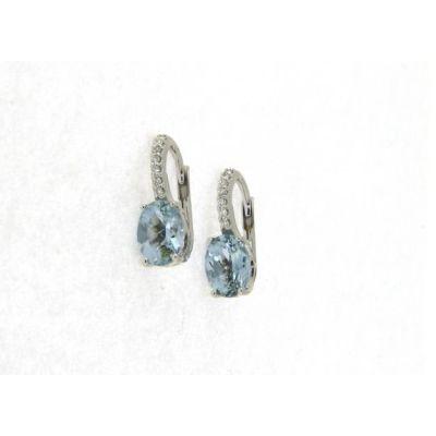 Orecchini con Diamanti e Acquamarina ct 2.10