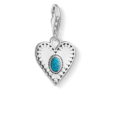 Charm Pendant Heart Turquoise Stone