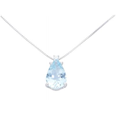 Girocollo con Diamante Acquamarina ct 1.12