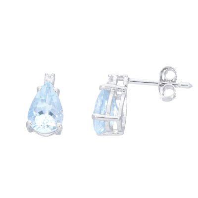 Orecchini con Diamanti e Acquamarina ct 2.24