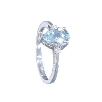 Anello con Diamanti e Acquamarina ct 1.12