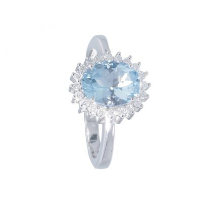 Anello con Diamanti e Acquamarina ct 1.55