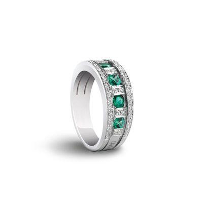 Damiani Anello Belle Epoque Oro Bianco Diamanti e Smeraldi