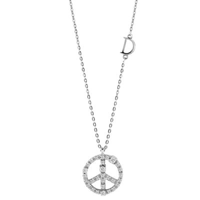 Damiani Collana Mini Simboli Pace in Oro Bianco e Diamanti