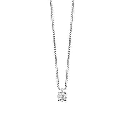 Damiani Collana Punto Luce Luce in Oro Bianco e Diamante ct 0.42