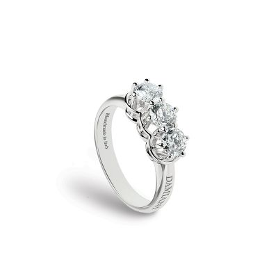 Damiani Anello Trilogy Minou in Oro Bianco e Diamanti ct 0.90 G IF GIA