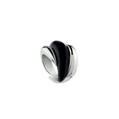 Anello in argento con smalto nero e diamante