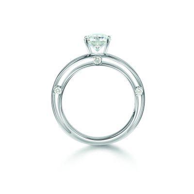 Anello di fidanzamento in oro bianco 0,28 carati, colore H, purezza VVS