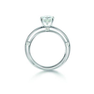 Anello di fidanzamento in oro bianco 0,32 carati, colore G, purezza VVS