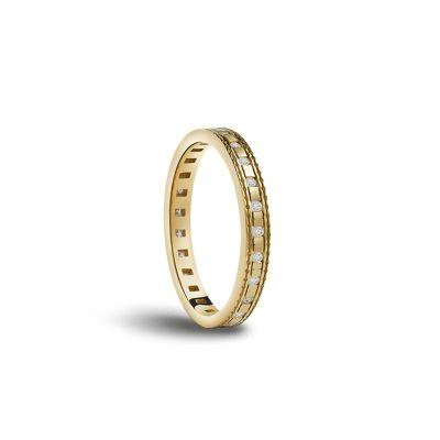Fede nuziale in oro giallo con diamanti