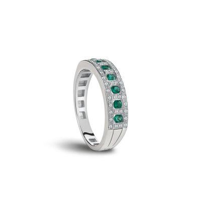Damiani Anello Belle Epoque in Oro Bianco Diamanti e Smeraldi