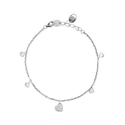 bracciale in oro bianco 9kt con ciondolo a cuore e diamante