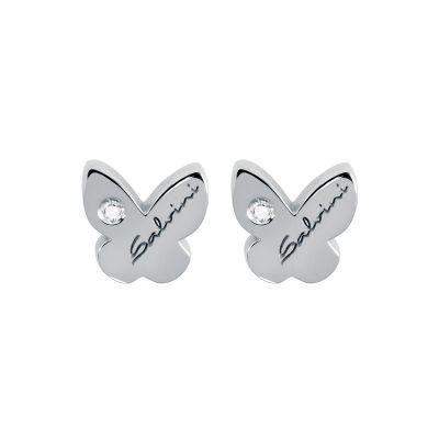 orecchini in oro bianco 9kt farfalla con diamante