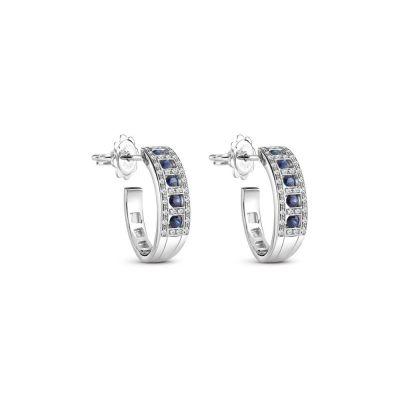 Orecchini in oro bianco con diamanti e zaffiri