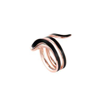 Anello in ceramica nera e oro rosa con diamanti