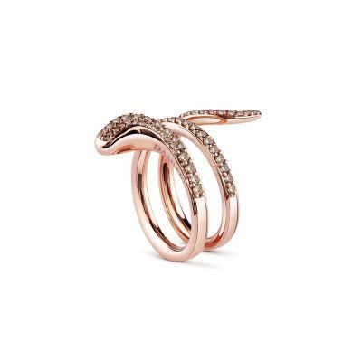Anello in oro rosa e diamanti brown