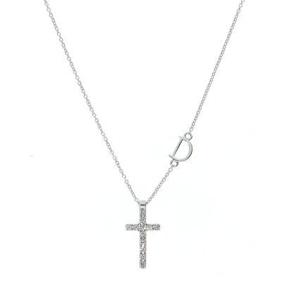 Damiani Collana Croce Mini Simboli Oro Bianco e Diamanti