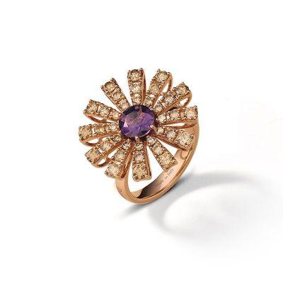 Damiani Anello Margherita Oro Rosa Diamanti Brown e Ametista
