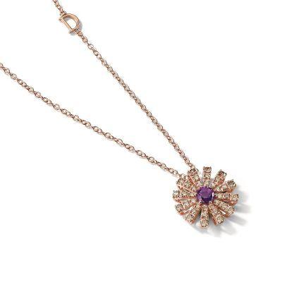 Damiani Collana in Oro Rosa e Diamanti Brown e Ametista