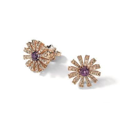Orecchini in oro rosa, diamanti brown e ametista