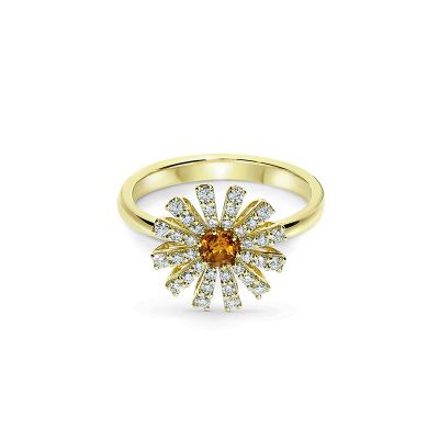 Damiani Anello Margherita in Oro Giallo Diamanti e Quarzo Citrino
