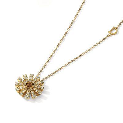 Damiani Collana Margherita in Oro Giallo Diamanti e Quarzo Citrino