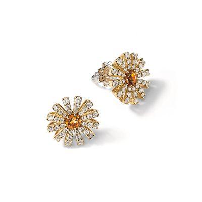 Orecchini in oro giallo con diamanti e quarzo citrino