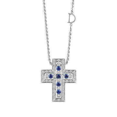 Damiani Collana Croce Belle Epoque in Oro Bianco Diamanti e Zaffiri