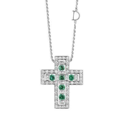 Collana in oro bianco con diamanti e smeraldi