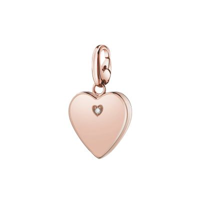 charm cuore in argento rosa 925