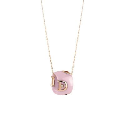 Damiani Collana D.Icon in Ceramica Rosa, Oro Rosa e Diamante