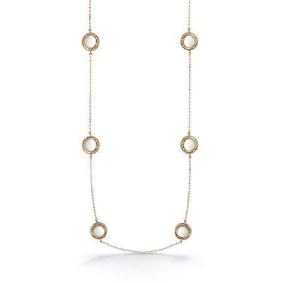 Collana in oro rosa, madre perla e diamanti