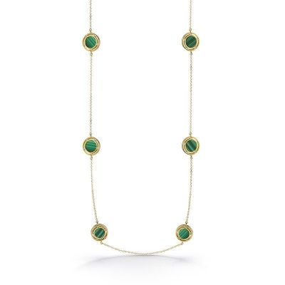 Collana in oro giallo, malachite e diamanti