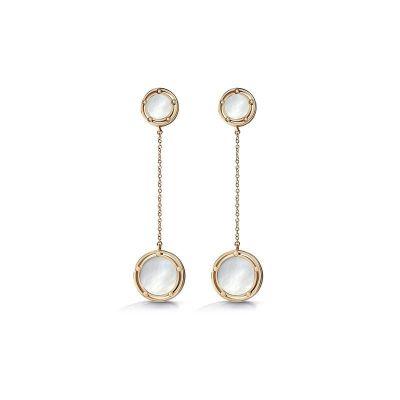 Orecchini in oro rosa, madre perla e diamanti