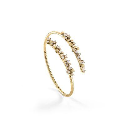 Bracciale in oro giallo con diamanti bianchi, diamanti fancy yellow e diamanti brown