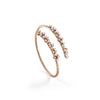 Bracciale in oro rosa con diamanti bianchi e diamanti brown