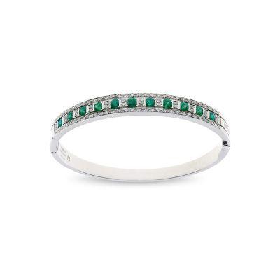 Bracciale in oro bianco, diamanti e smeraldi
