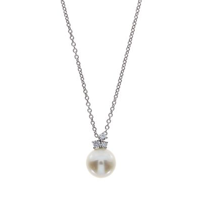 Damiani Collana Mimosa in Oro Bianco Diamanti e Perla