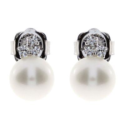 Damiani Orecchini Mimosa in Oro Bianco Diamanti e Perle