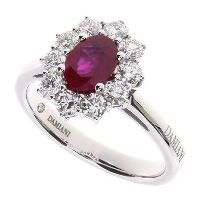 Damiani Anello in Oro Bianco Diamanti e Rubino