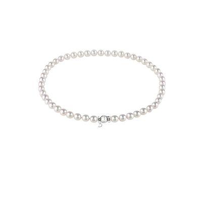 Damiani Filo di Perle Akoya mm 6,5 x 7 in Oro Bianco e Diamante