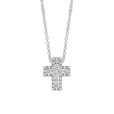 Damiani Collana Croce Belle Epoque Oro Bianco Diamanti
