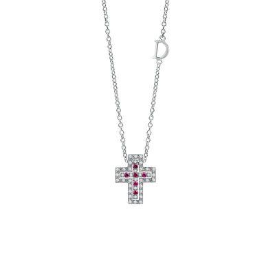 Damiani Collana Croce Belle Epoque Oro Bianco Diamanti e Rubini