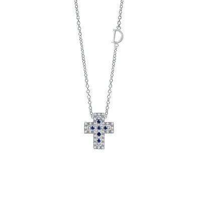 Damiani Collana Croce Belle Epoque Oro Bianco Diamanti e Zaffiri
