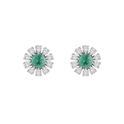 Damiani Orecchini Margherita Oro Bianco Smeraldi e Diamanti