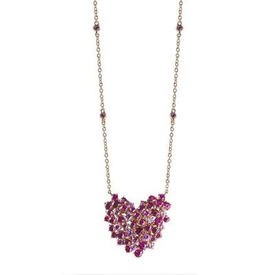 Collana in oro rosa con zaffiri rosa e rubini
