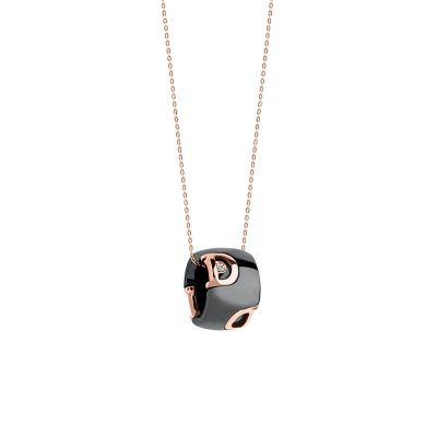 Damiani Collana D.Icon in Ceramica Nera, Oro Rosa e Diamante