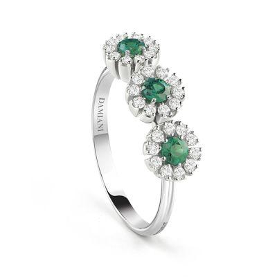 Damiani Anello 3 Margherita Oro Bianco Smeraldi e Diamanti