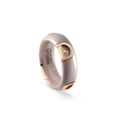 Damiani Anello D.Icon in Ceramica Cappuccino, Oro Rosa e Diamante 7 mm