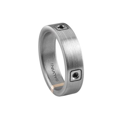 Salvini Anello Titanium in Titanio e 3 Diamanti Black